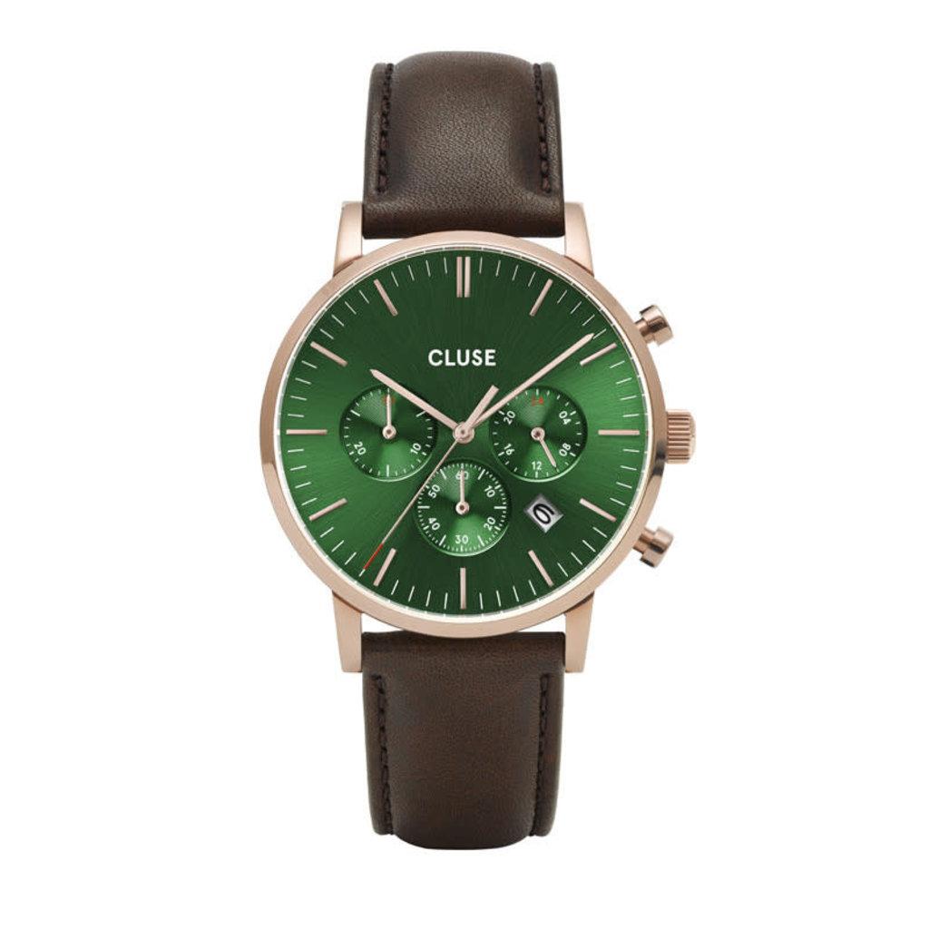 CLUSE CLUSE horloge Aravis Chrono Leather Rosé Gold, Green/Brown