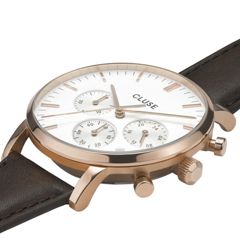 CLUSE CLUSE horloge Aravis Chrono Leather Rose Gold