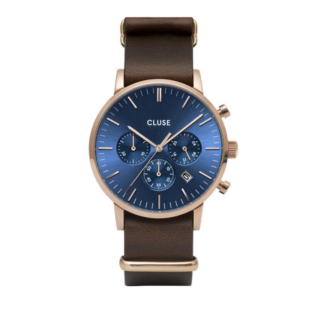 CLUSE CLUSE horloge Aravis Chrono Nato Leather Rosé Gold, Dark Blue/Brown