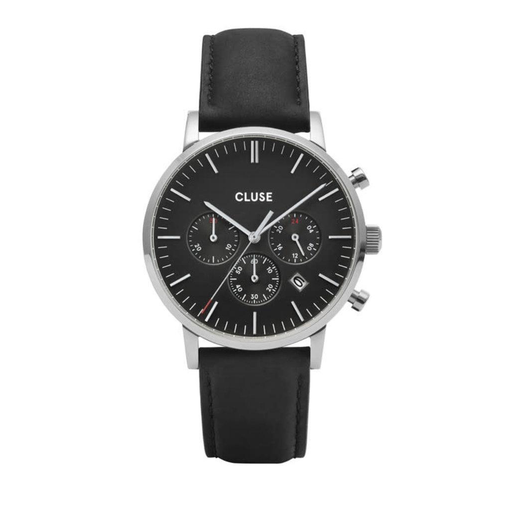 CLUSE CLUSE horloge Aravis Chrono Leather Silver CW0101502001