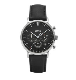 CLUSE CLUSE horloge Aravis Chrono Leather Silver