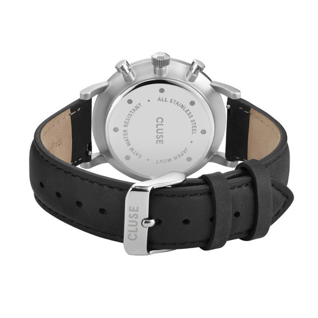 CLUSE CLUSE horloge Aravis Chrono Leather Black/Silver
