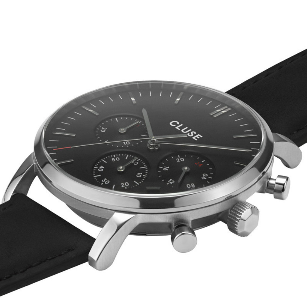 CLUSE CLUSE horloge Aravis Chrono Leather Silver