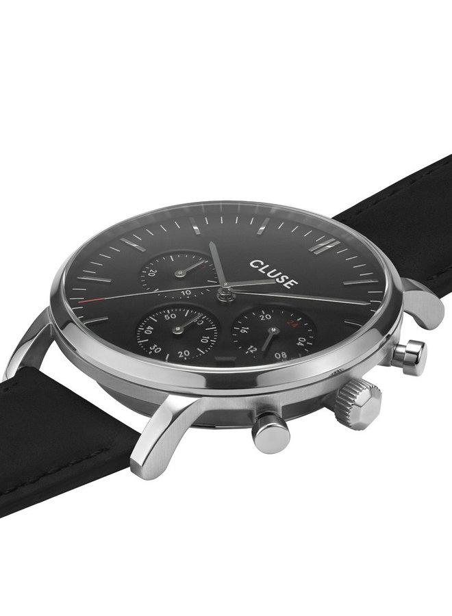 CLUSE horloge Aravis Chrono Leather Black/Silver