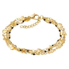 iXXXi Jewelry iXXXi armband Ghana (black beads) Gold Plated
