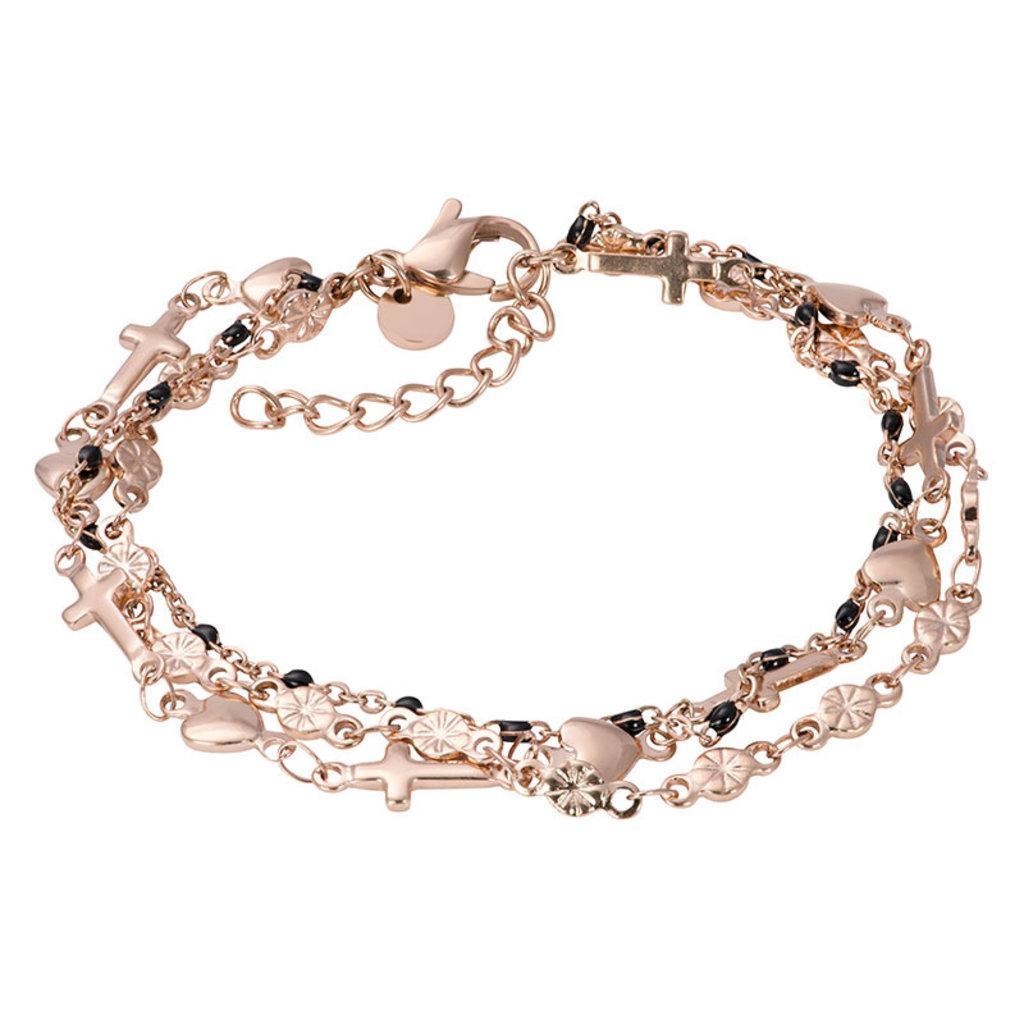 iXXXi Jewelry iXXXi armband Ghana (black beads) Rosé Gold Plated