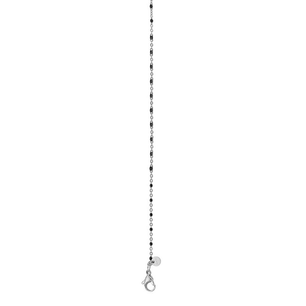 iXXXi Jewelry iXXXi ketting Black Beads 50+5 cm Silver