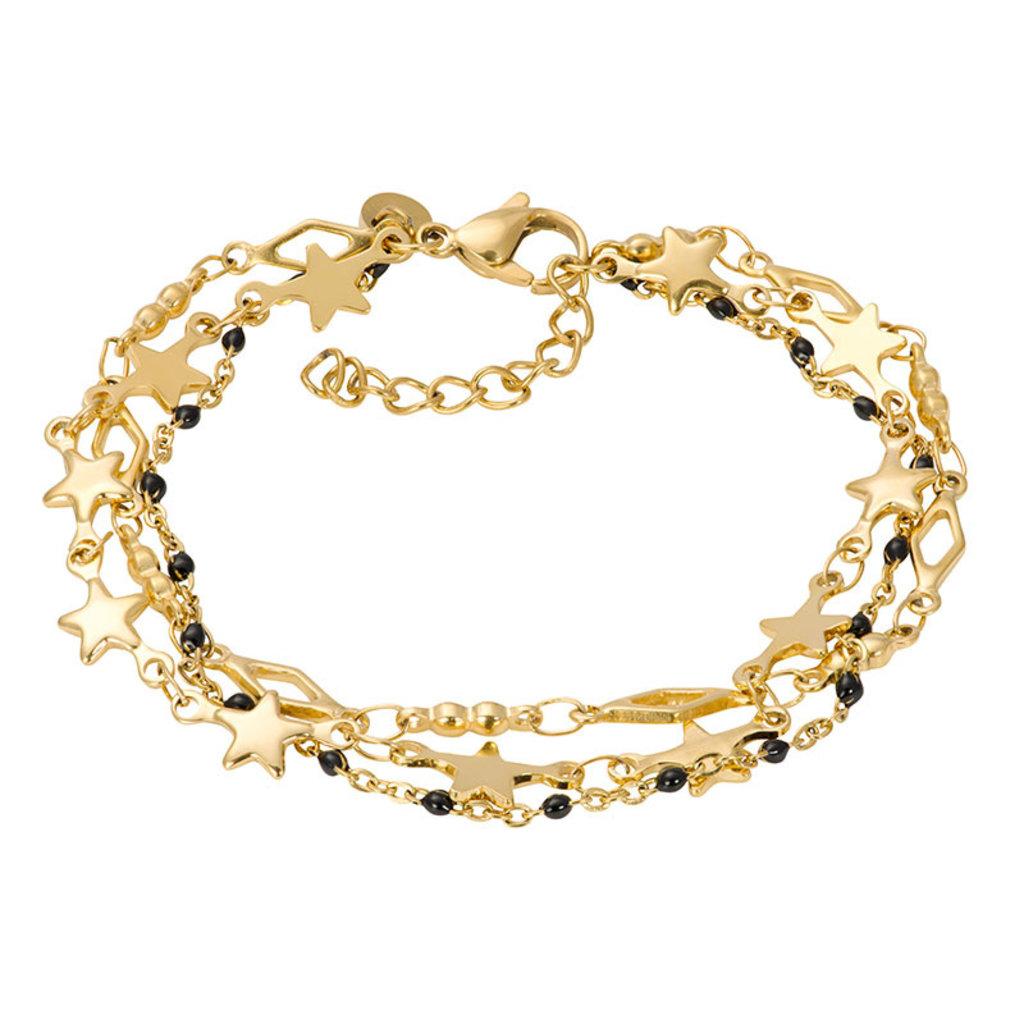 iXXXi Jewelry iXXXi armband Kenya (black beads) Gold Plated