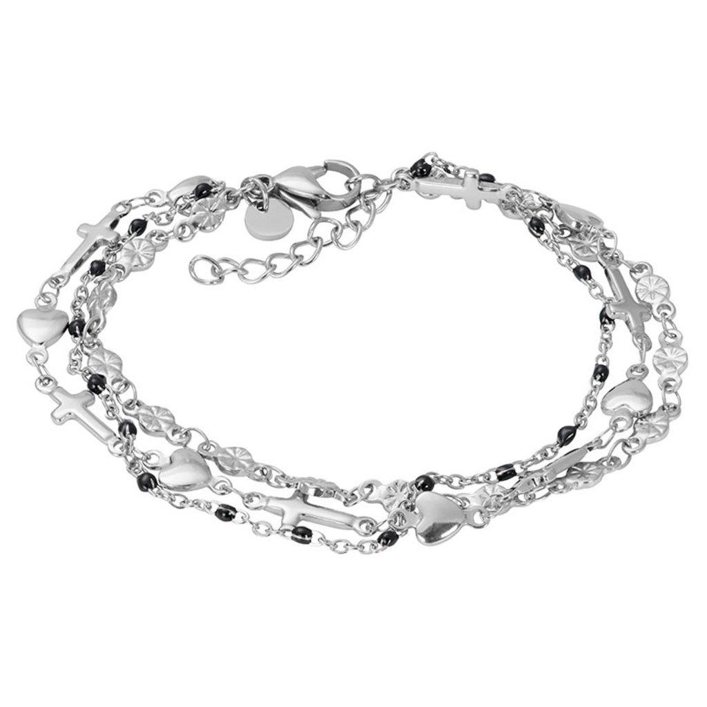 iXXXi Jewelry iXXXi armband Ghana (black beads) Silver