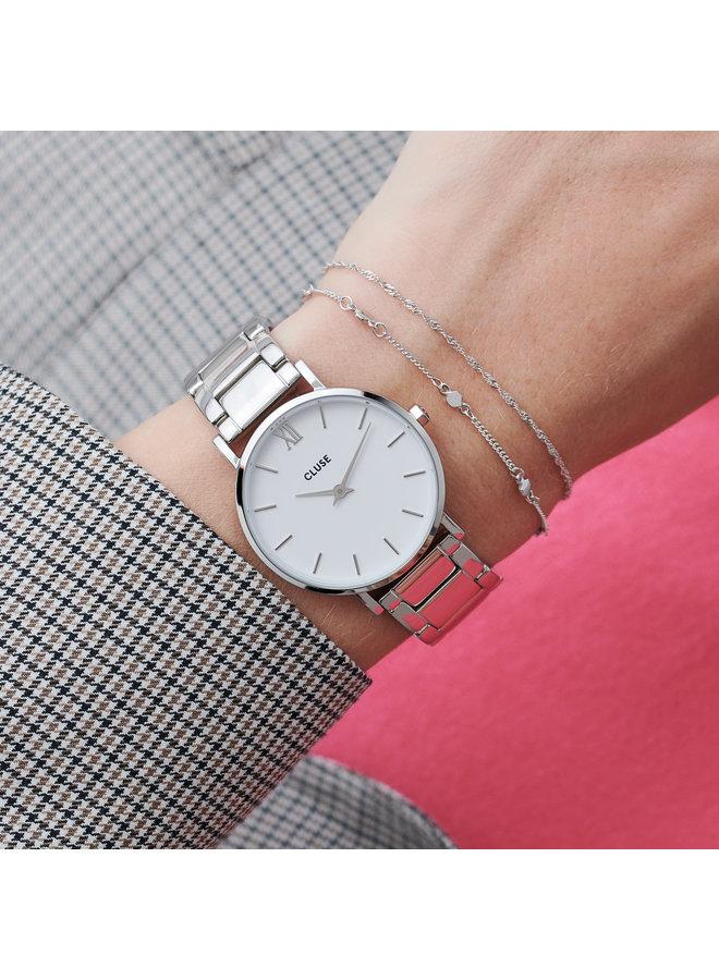 CLUSE horloge Minuit 3-Link Silver/White