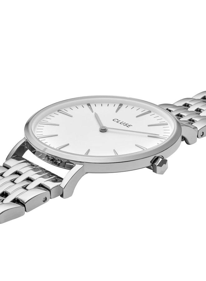 CLUSE horloge Boho Chic Multi-Link Silver/White