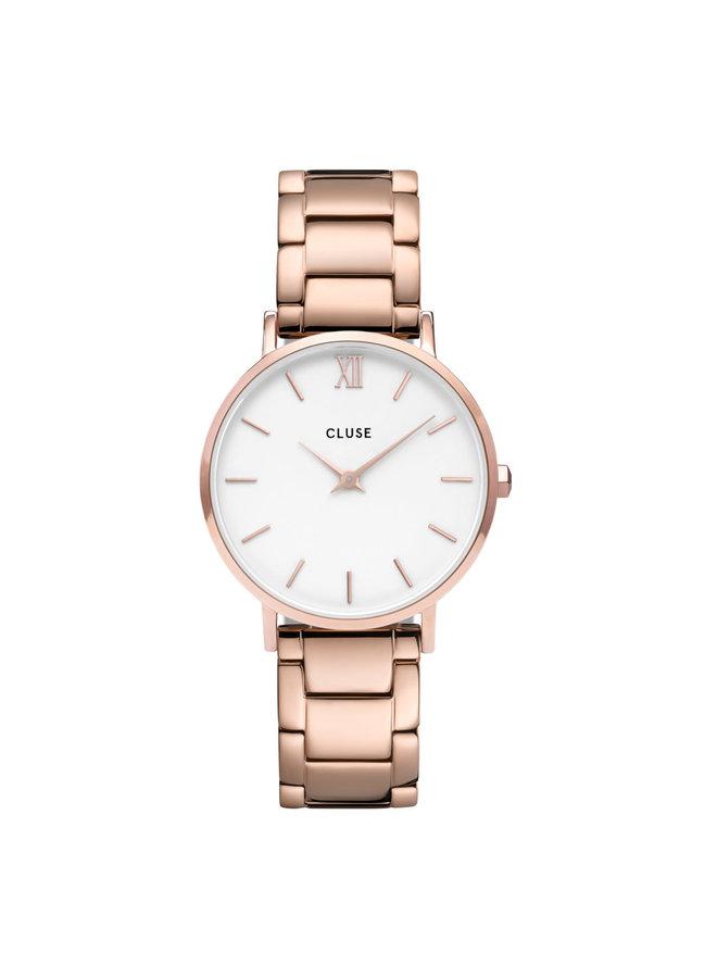 CLUSE horloge Minuit 3-Link Rosé Gold/White