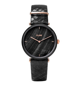 CLUSE CLUSE Horloge Triomphe CW0101208012 Leather Black Pearl/Phython