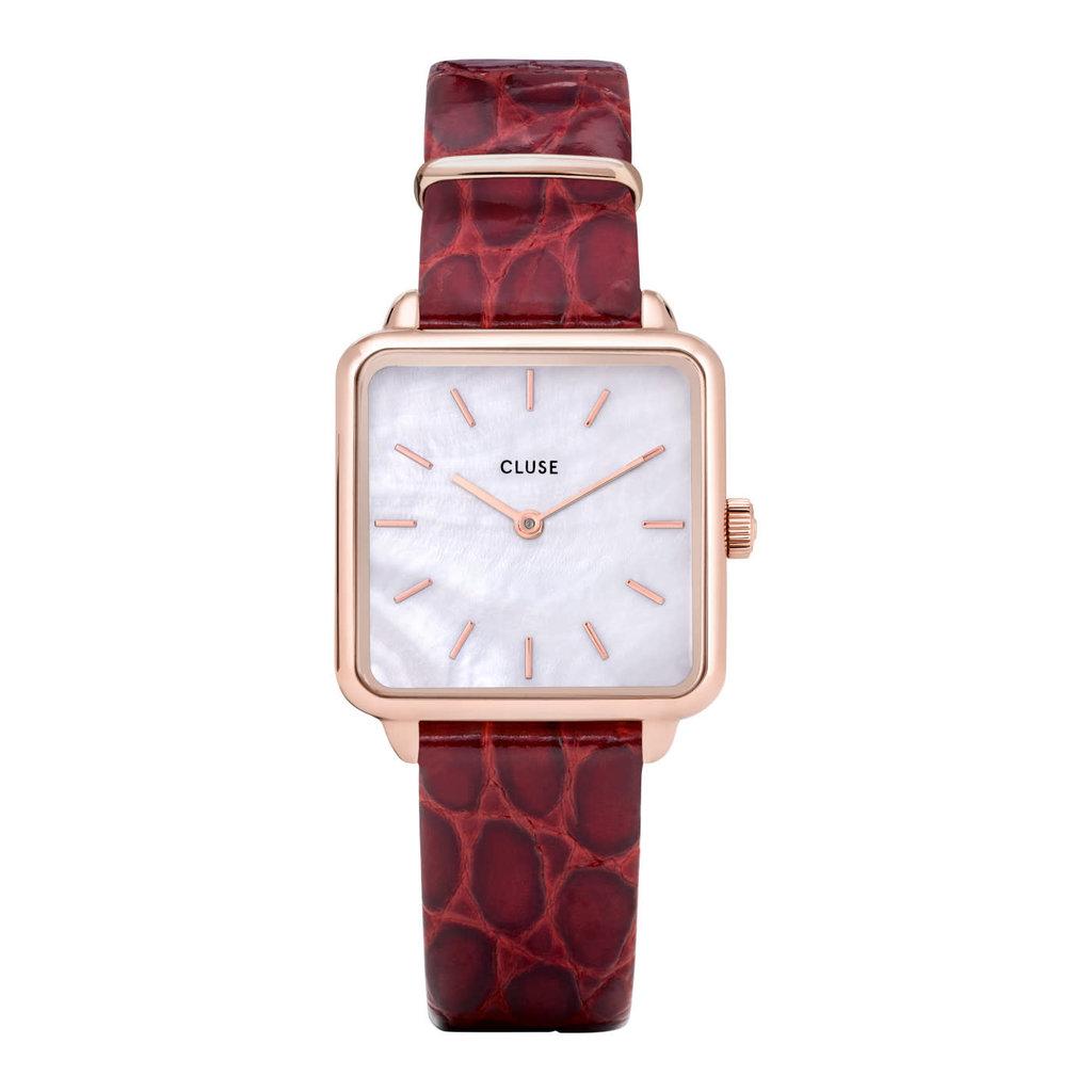 CLUSE CLUSE horloge La Tetragone CW0101207029 Leather Rose Gold Dark Red