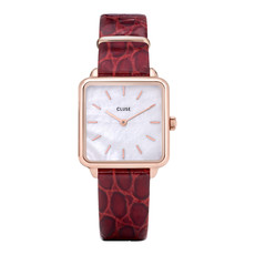 CLUSE CLUSE horloge La Tetragone Leather Dark Red/Rosé Gold/Pearl