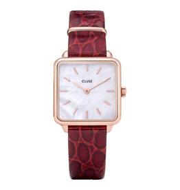 CLUSE CLUSE horloge La Tetragone  Leather Rose Gold Dark Red