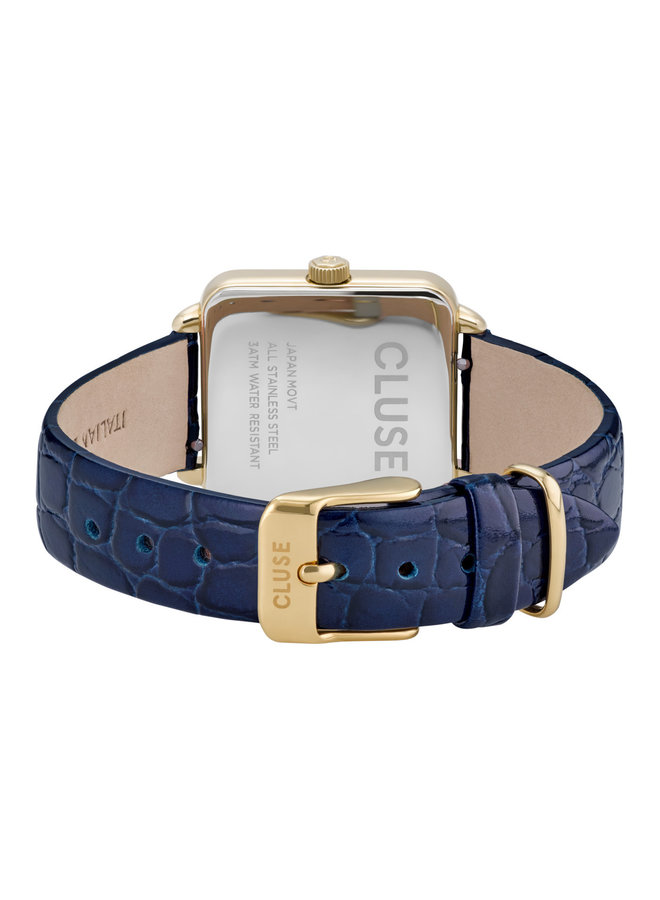 CLUSE horloge La Tetragone  Leather Blue/Gold