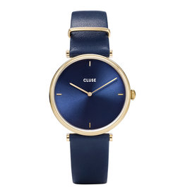 CLUSE CLUSE horloge Triomphe Leather Blue/Gold