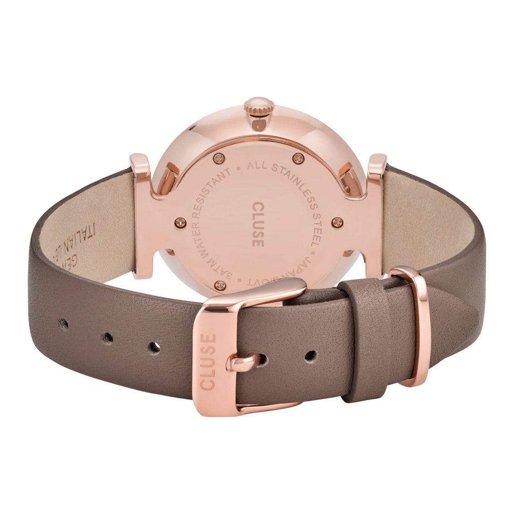 CLUSE CLUSE horloge Triomphe Leather Soft Taupe/Rosé Gold
