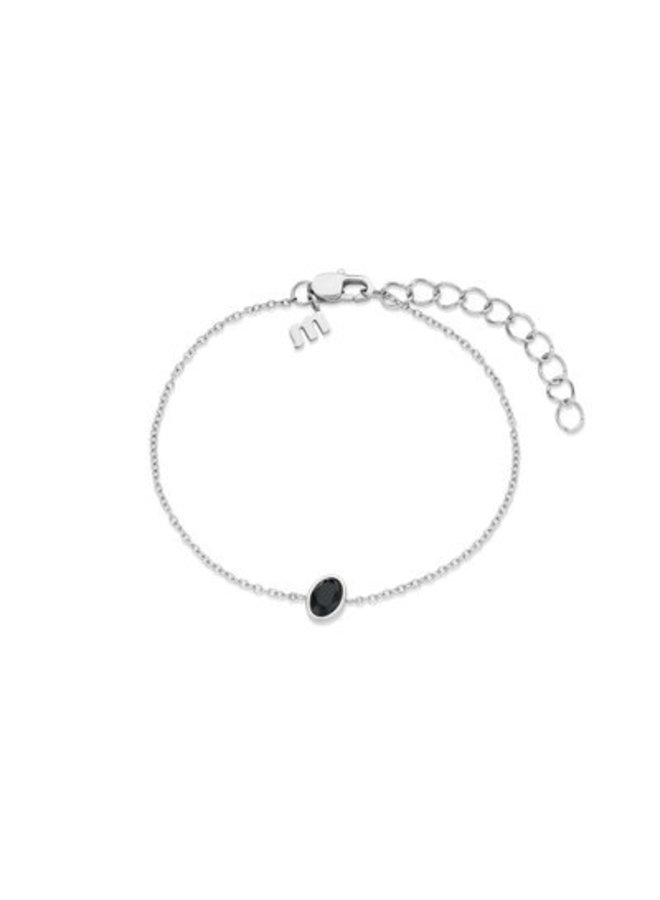 Melano Friends armband Mini Oval Stainless Steel Black