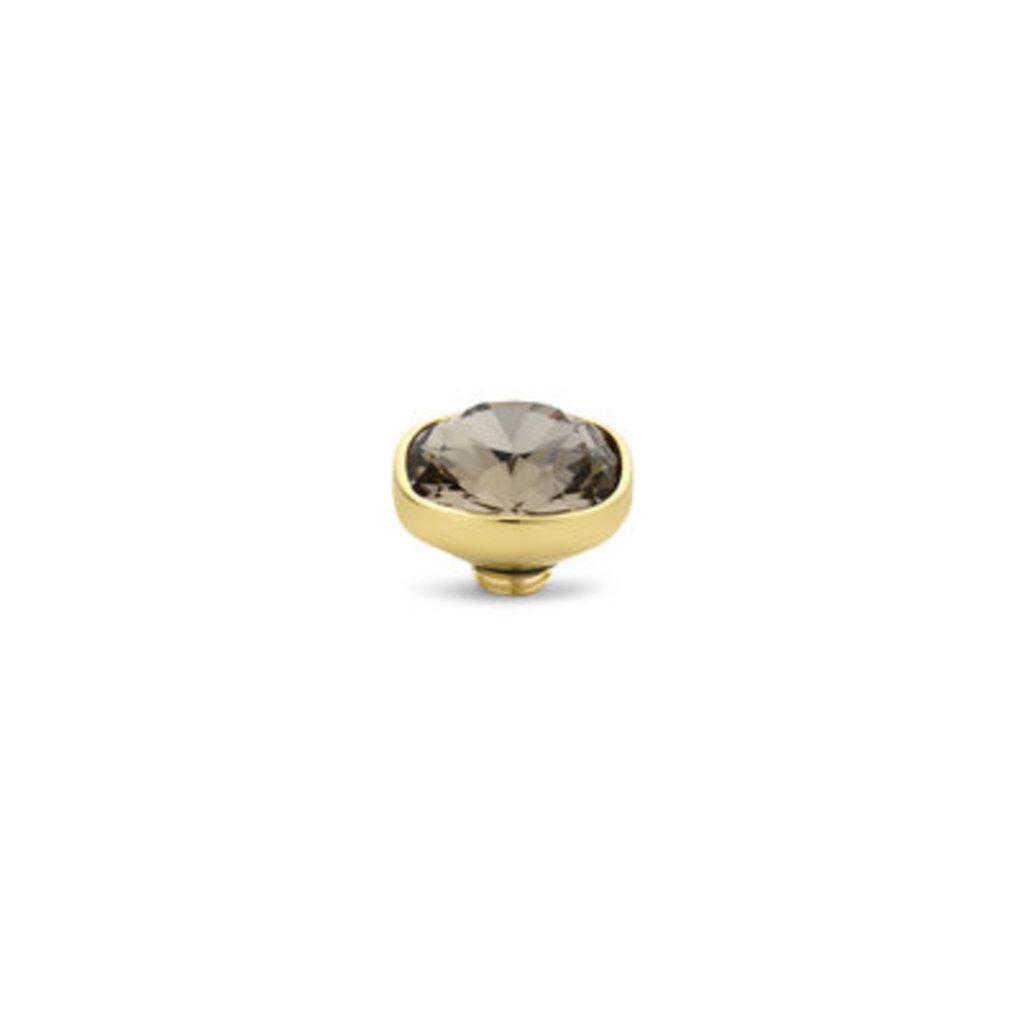 Melano Melano Vivid meddy 12 mm Square CZ Gold Plated Greige