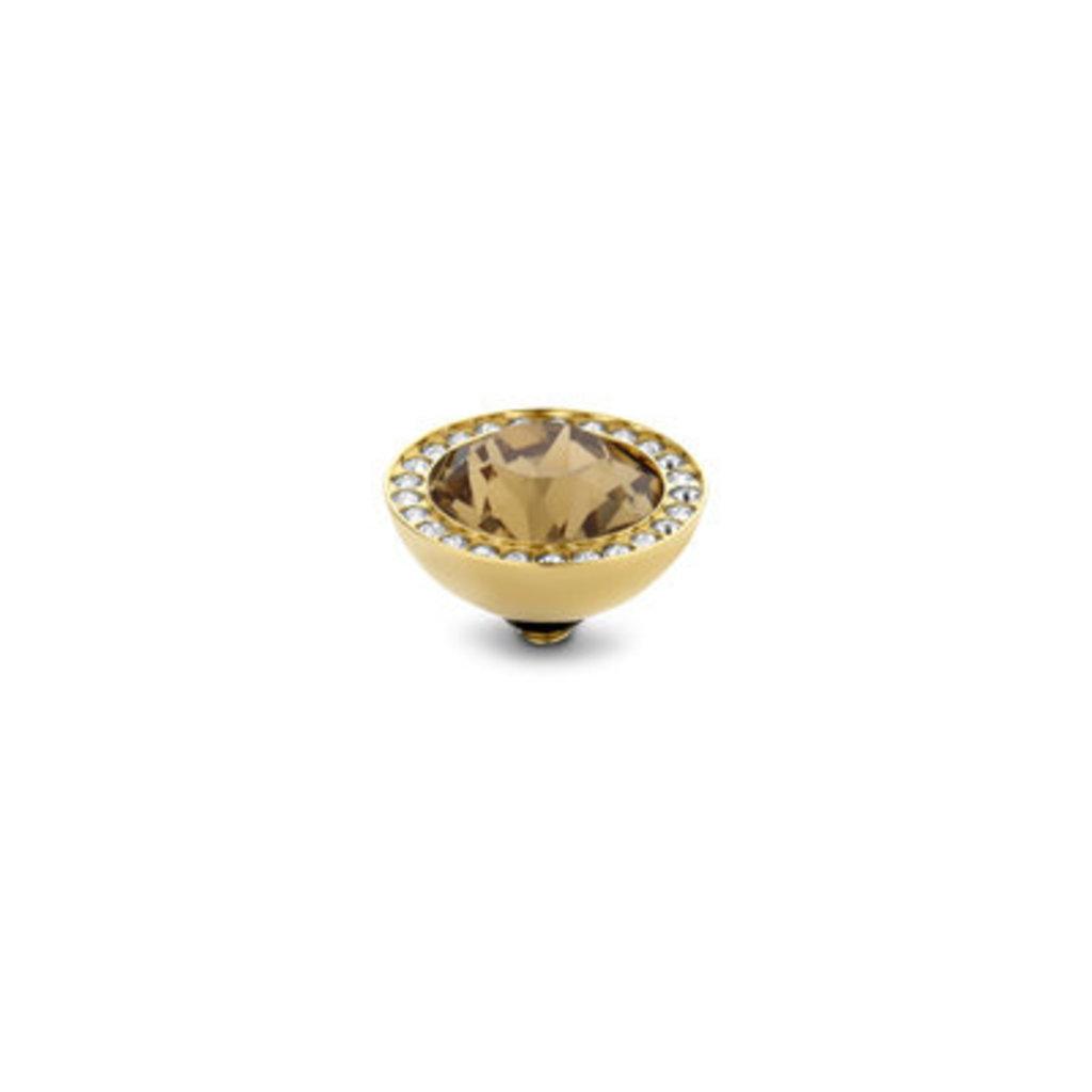Melano Melano Twisted meddy 10mm CZ Gold Plated Light Colorado Topaz