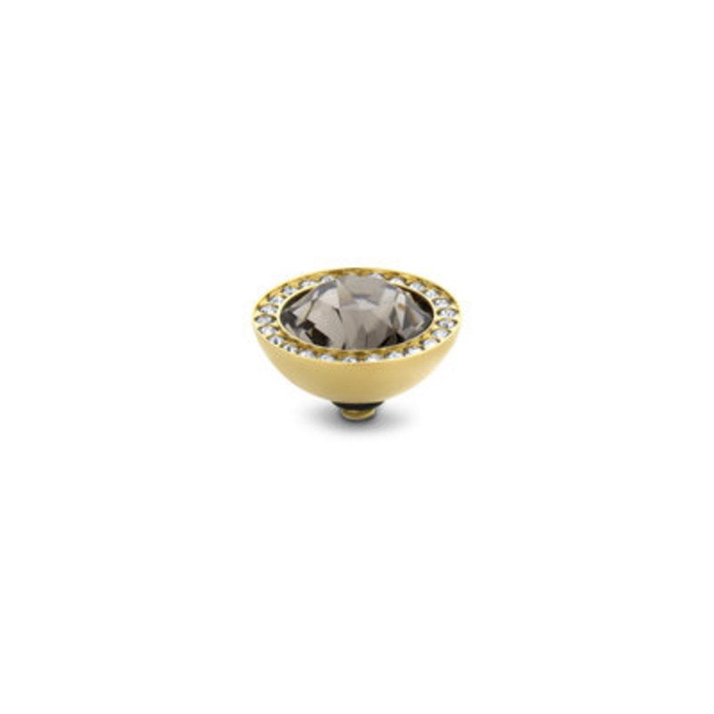Melano Melano Twisted meddy 10mm CZ Gold Plated Black Diamond