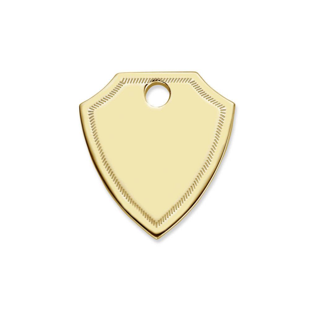 Mi Moneda Mi Moneda Monogram tag Shield Gold Plated Swarovski Crystals