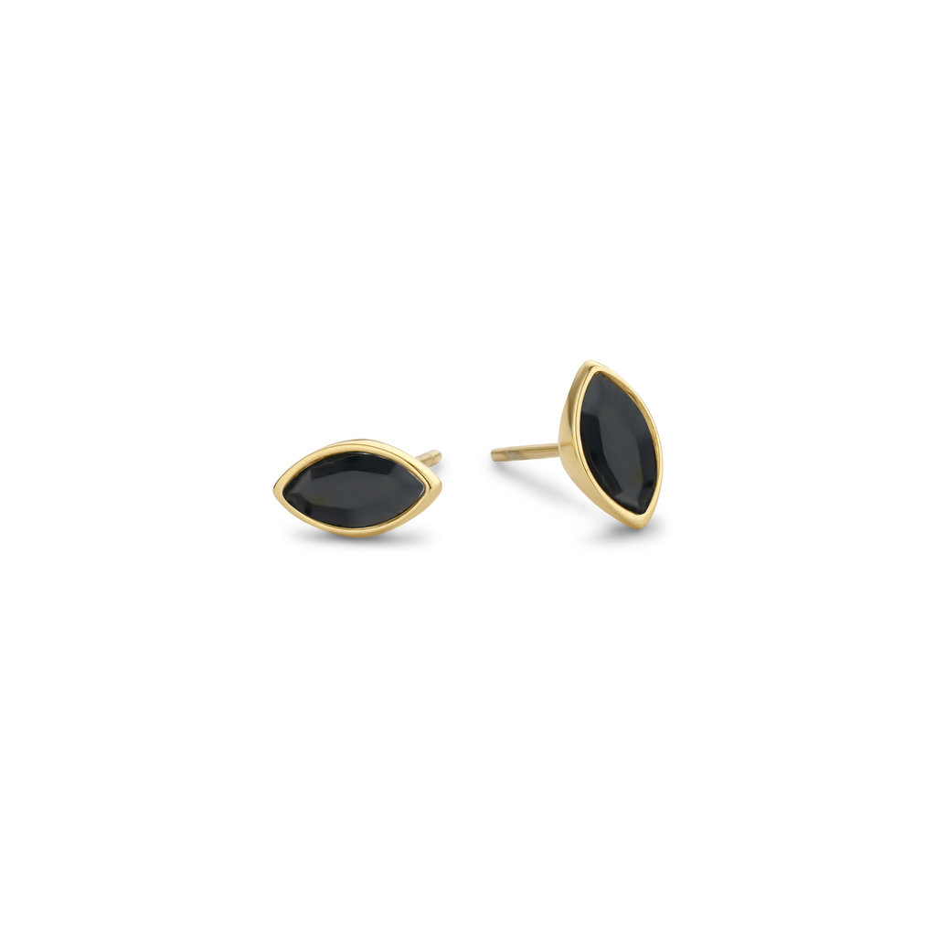 Melano Melano Friends oorbellen Mini Marquise Gold Plated Black
