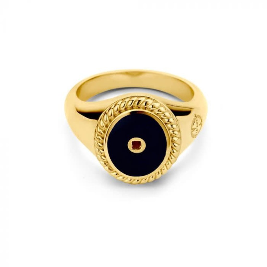 Mi Moneda Mi Moneda Icons ring Oval Black Gold Plated