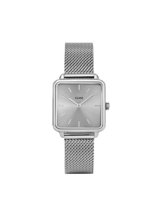 CLUSE horloge Tetragone Mesh Full Silver