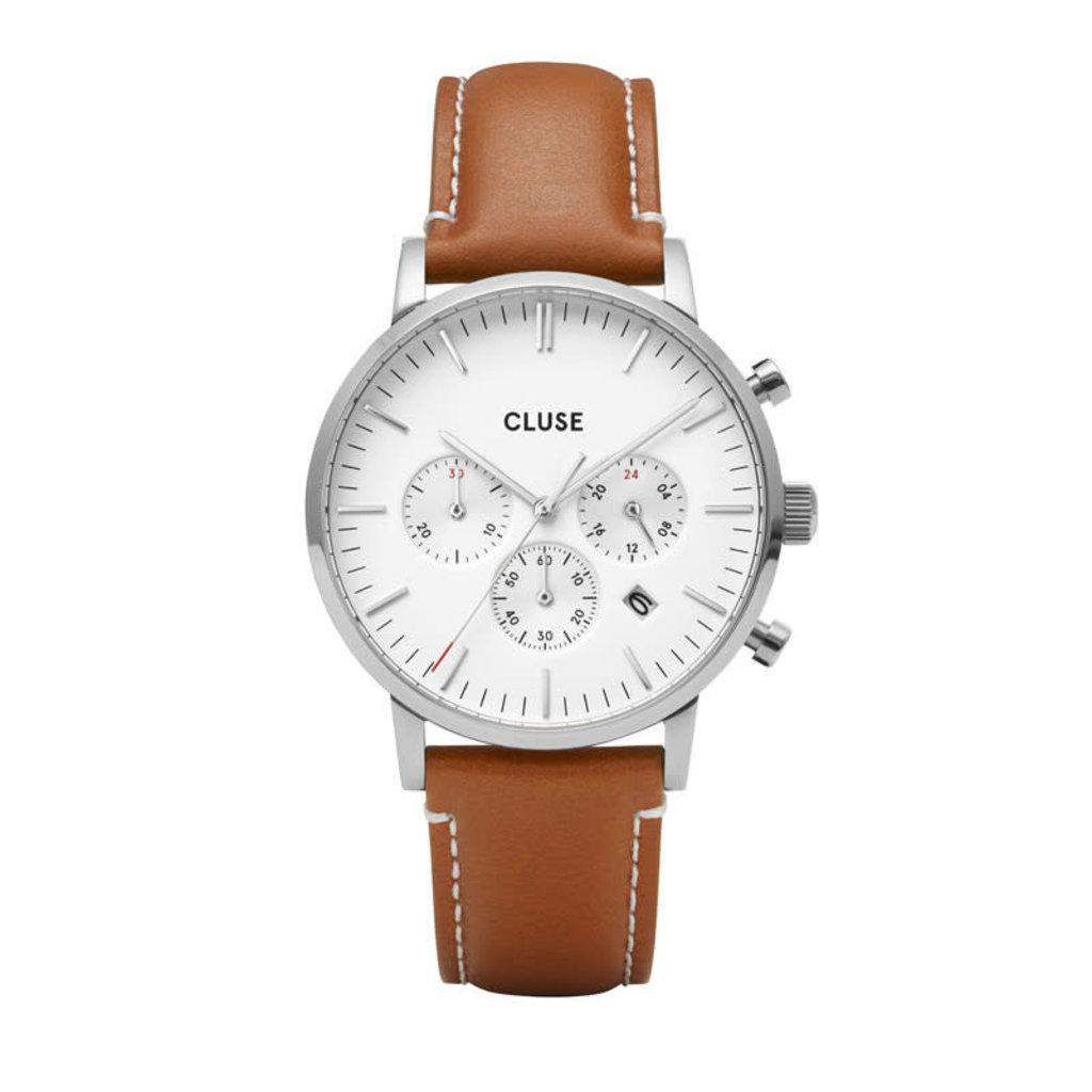 CLUSE CLUSE horloge Aravis Chrono Leather Brown/Silver/White