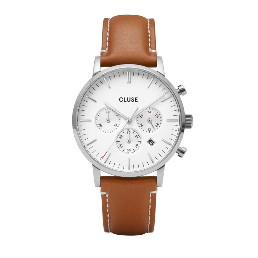 Cluse horloge Aravis Chrono Silver White Light Brown Leather