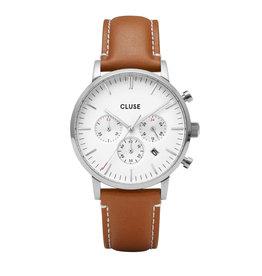 Cluse horloge Aravis Chrono Silver White Light Brown Leather