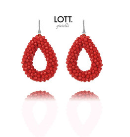 LOTT. Gioielli LOTT. Exclusive Collection oorbellen Glassberry Drop L Maxima Red Silver