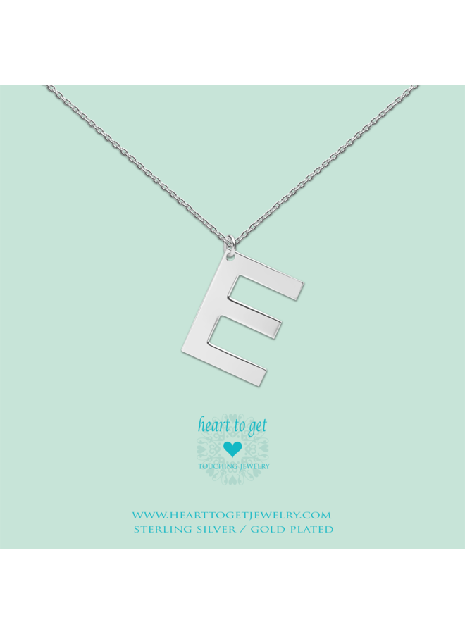 Heart to Get ketting Big Initial E Silver