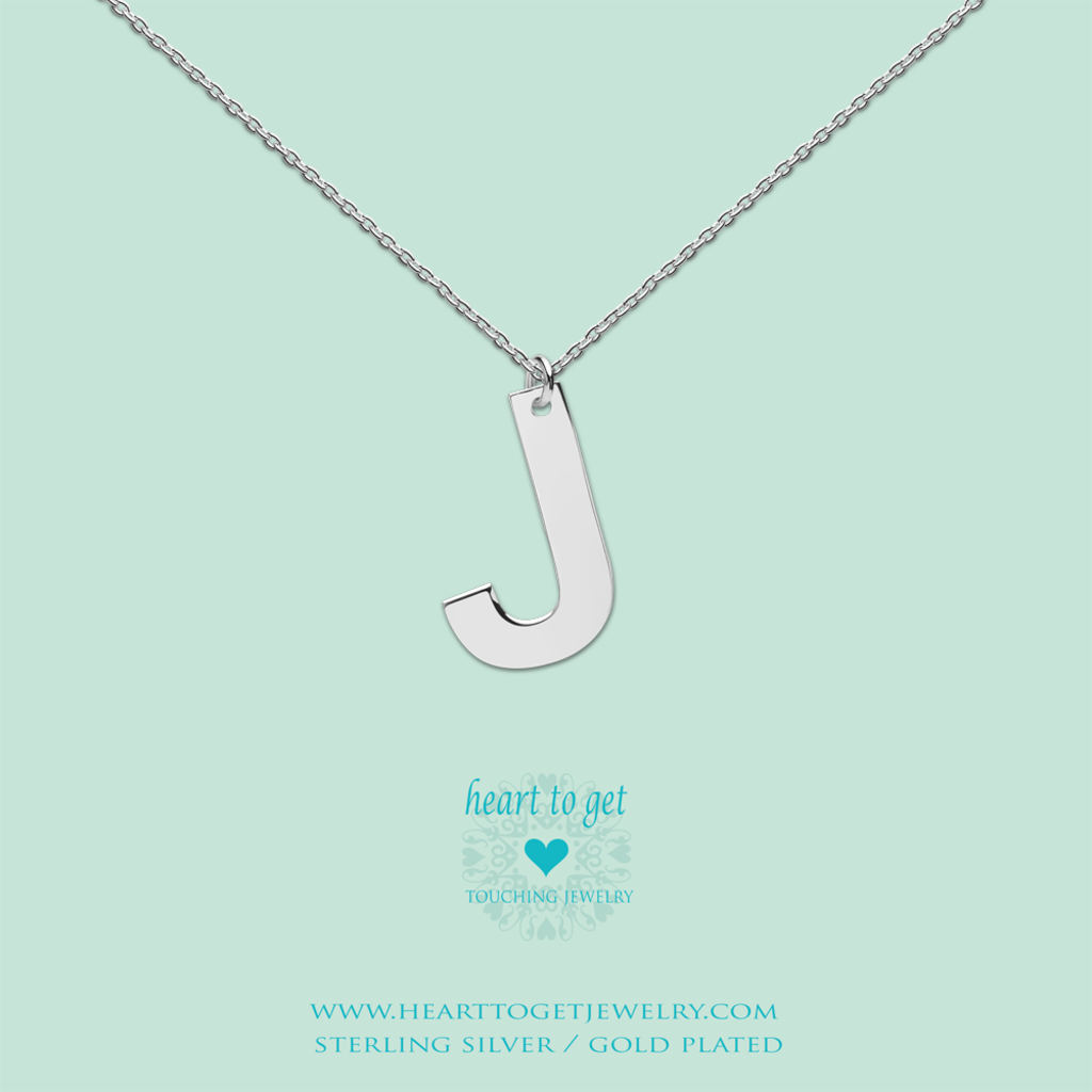 Heart to Get Heart to Get ketting Big Initial J Silver