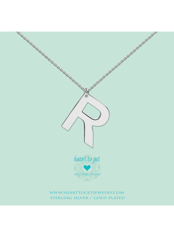 Heart to Get ketting Big Initial R Silver