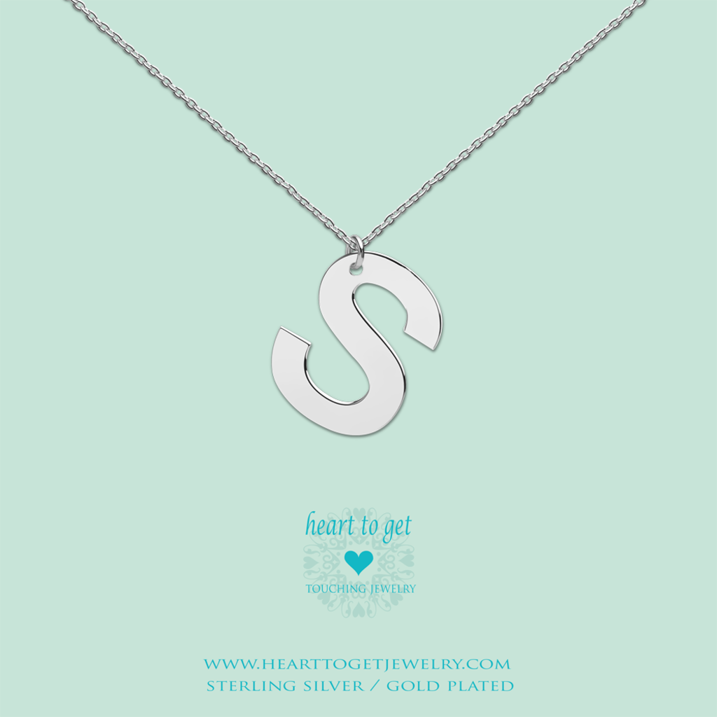 Heart to Get Heart to Get ketting Big Initial S Silver