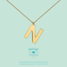 Heart to Get Heart to Get ketting Big Initial N Gold Plated