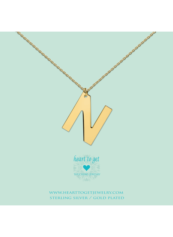 Heart to Get ketting Big Initial N Gold Plated