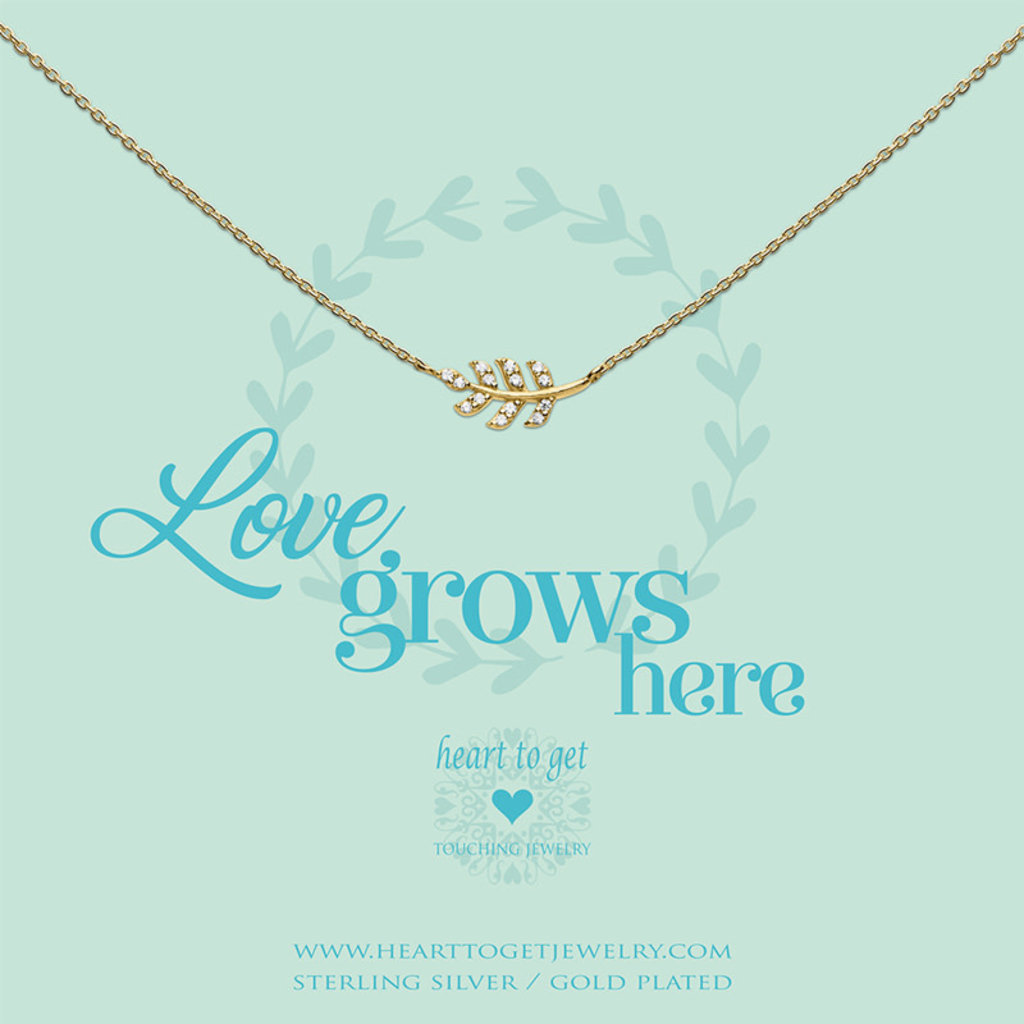 Heart to Get Heart to Get ketting Leaf Zirkon Gold Plated
