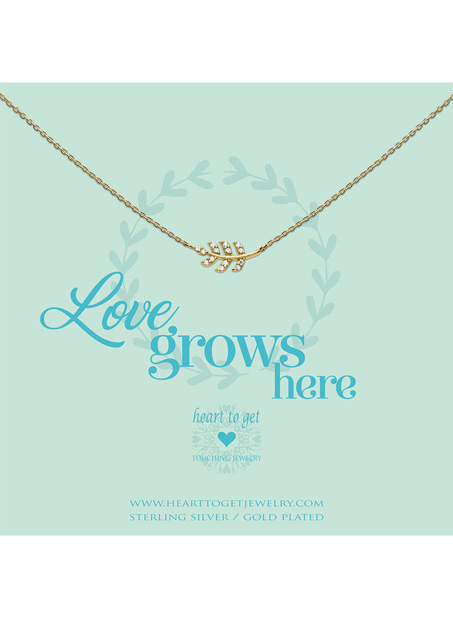 Heart to Get ketting Leaf Zirkon Gold Plated