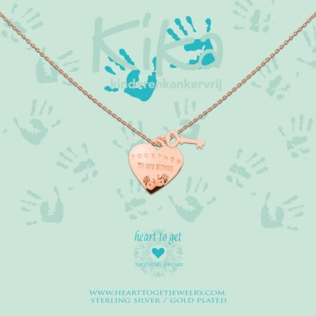 Heart to Get Heart to Get ketting Together we are Strong Rosé Gold Plated