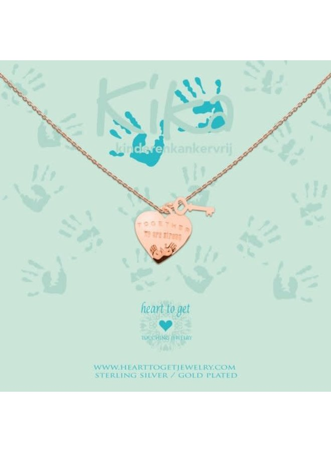 Heart to Get ketting Together we are Strong Rosé Gold Plated
