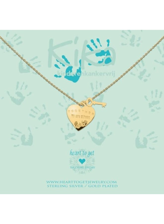 Heart to Get ketting Together we are Strong Gold Plated