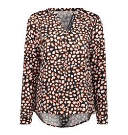 Zoso Zoso blouse 195 Esra Printed Black/Burnt Orange