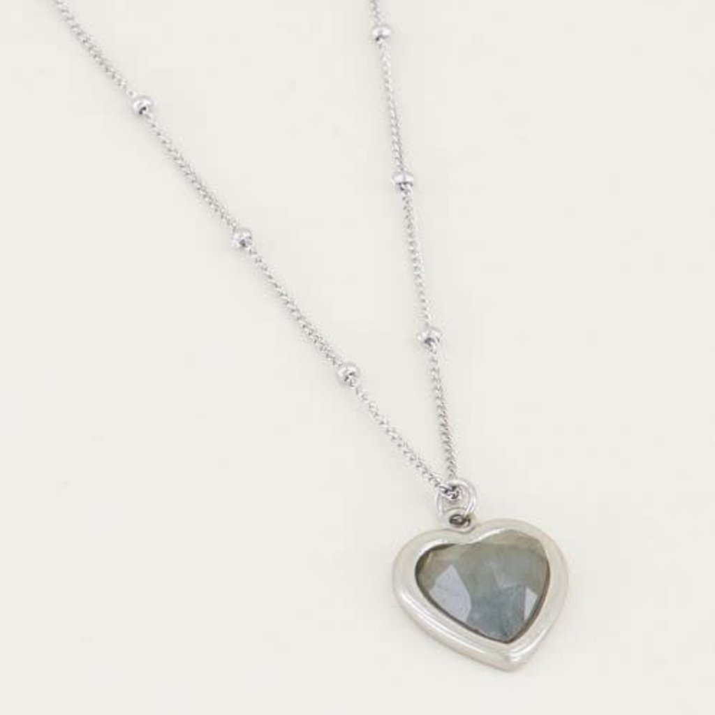 My Jewellery My Jewellery ketting Labradorite Hartje Zilver