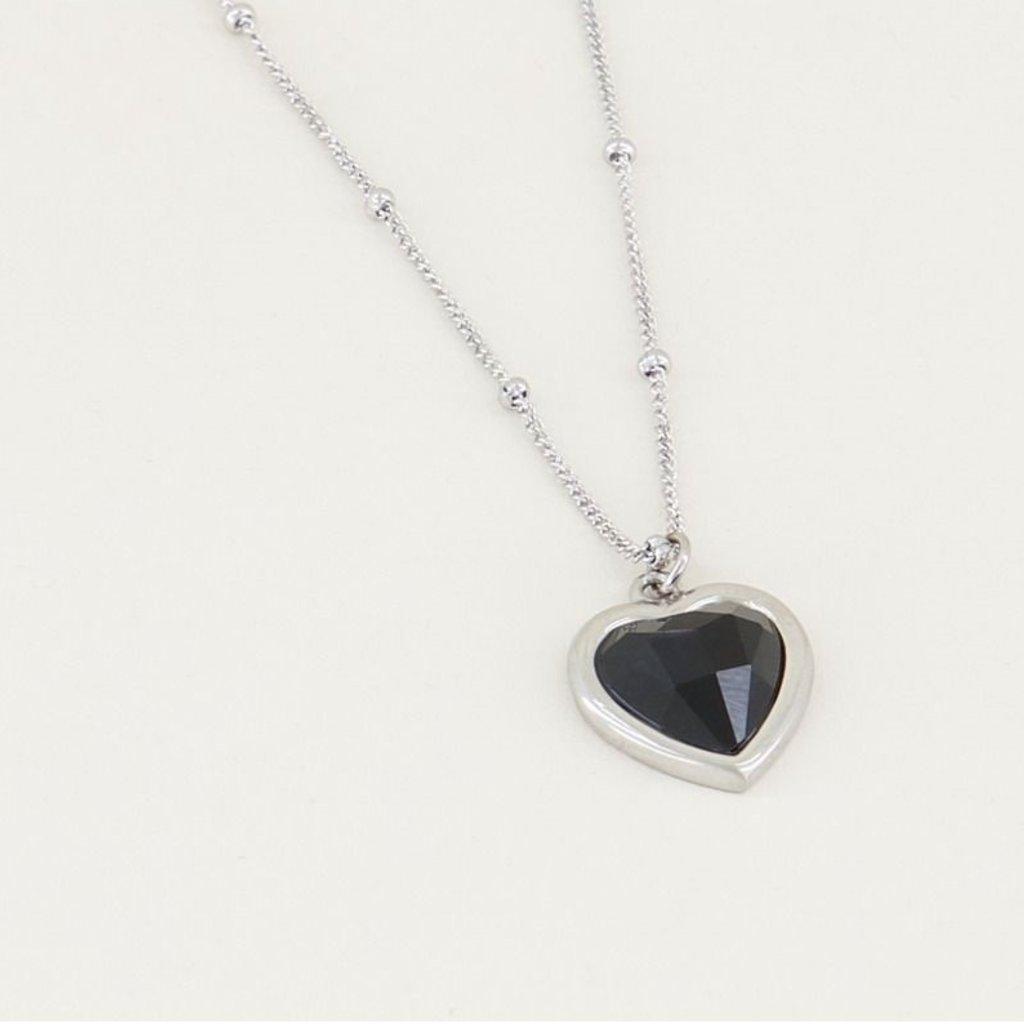 My Jewellery My Jewellery ketting Black Onyx hartje Zilver