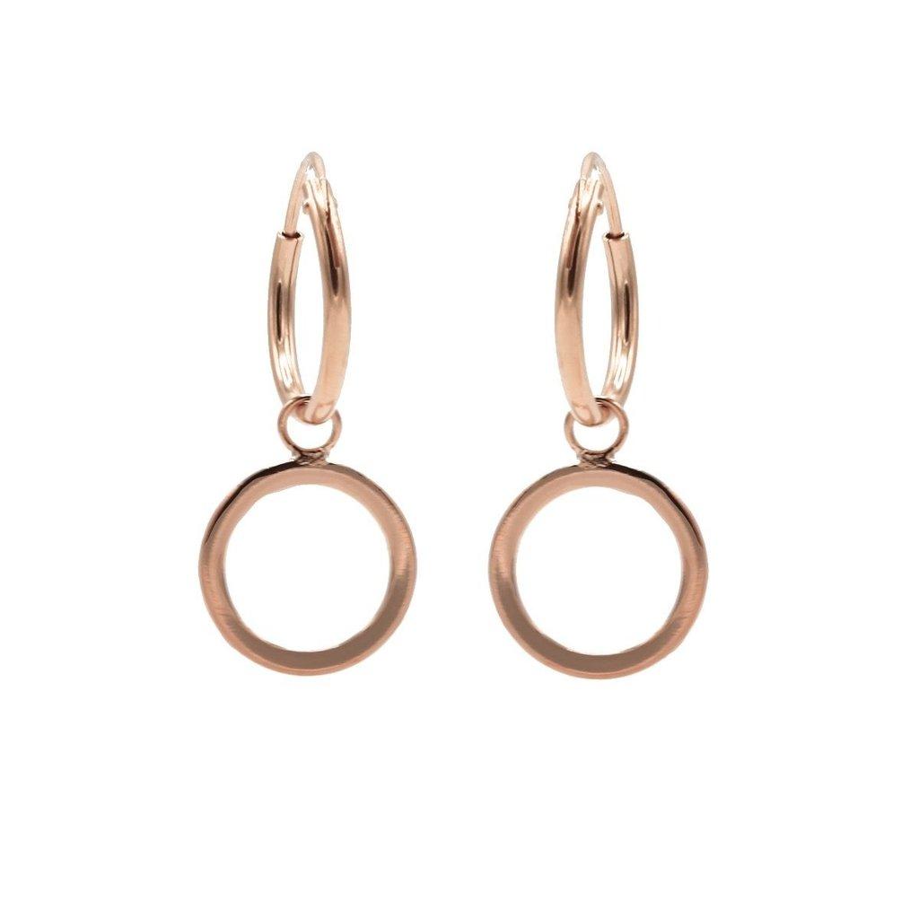 Karma oorbellen Hoops Symbols Open Circle Rose Gold Plated